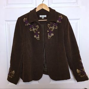 COLDWATER CREEK Brown Embroidered Blazer Jacket